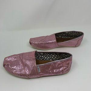 Toms Shoes - TOMS Pink Sparkle Sequins Canvas Slip On Loafers